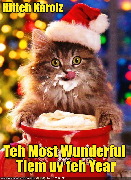 kitteh,carols,most,time,year,kitten,wunnerful,caption