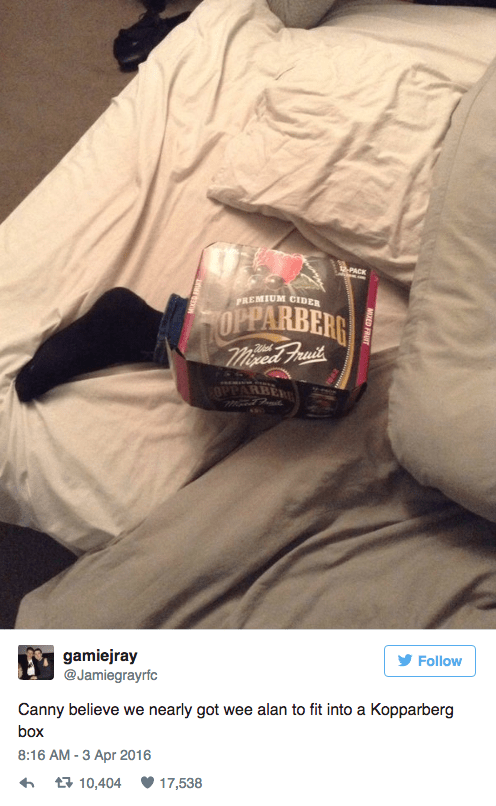 Helmet - PACK PREMIUM CIDER OPPARBERR msed Frait OPPARBER gamiejray @Jamiegrayrfc Follow Canny believe we nearly got wee alan to fit into a Kopparberg box 8:16 AM -3 Apr 2016 17,538 t 10,404 MED FRUIT