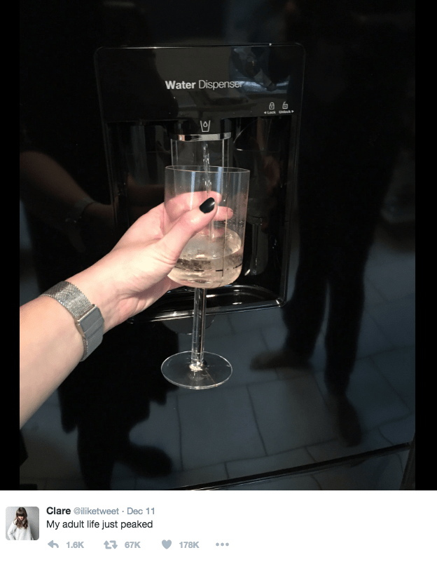 woman on twitter turns refrigerator water dispenser into wine dispenser