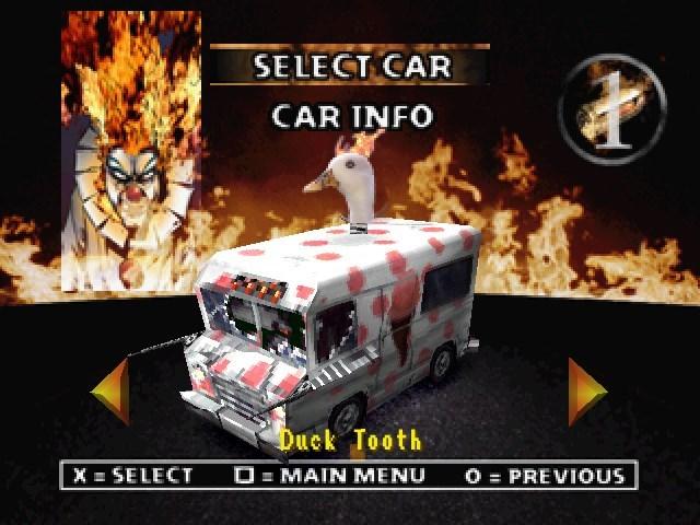 Games - SELECT CAR CAR INFO Duck Tooth OMAIN MENU X SELECT O PREVIOUS