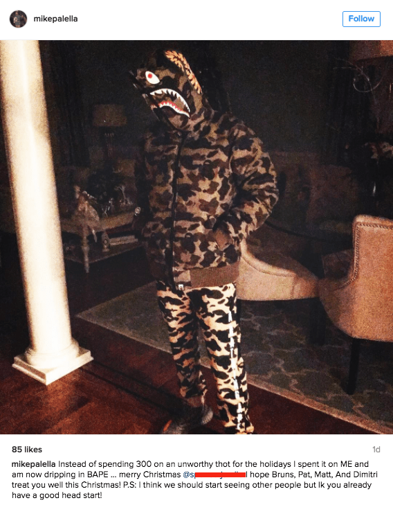 funny dating image guy blasts ex on instagram as a cheater and buys himself BAPE outfit