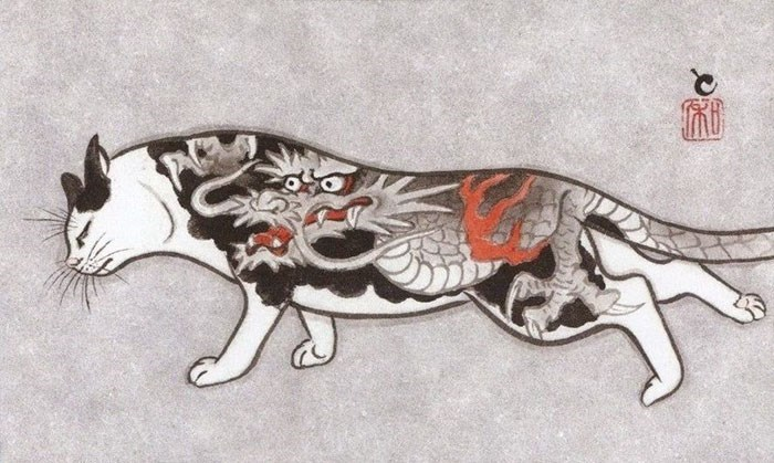 Kazuaki Horitomo cat tattoo - Illustration