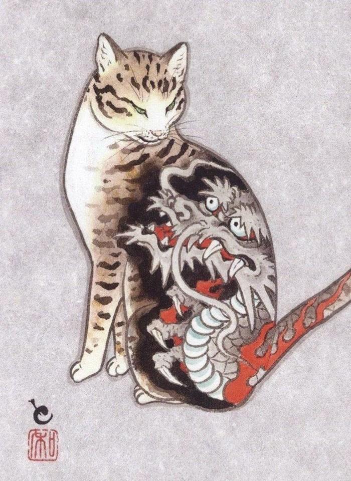 Kazuaki Horitomo cat tattoo - Felidae