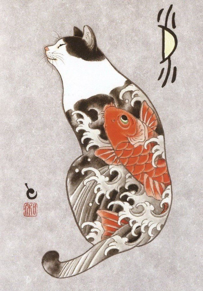 Kazuaki Horitomo cat tattoo - Koi