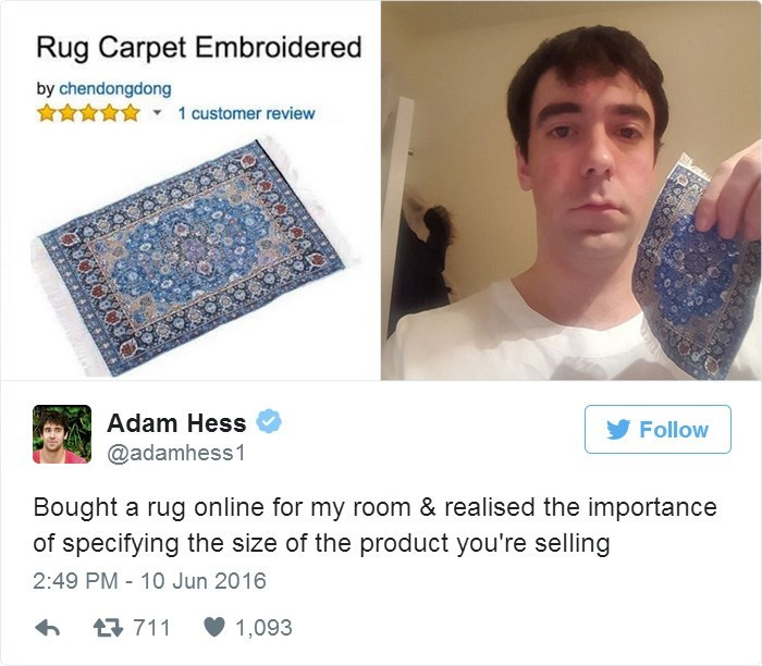 Neck - Rug Carpet Embroidered by chendongdong 1 customer review Adam Hess Follow @adamhess1 Bought a rug online for my room & realised the importance of specifying the size of the product you're selling 2:49 PM 10 Jun 2016 711 1,093