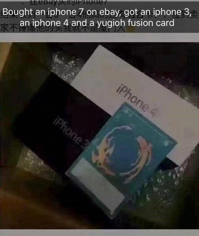Text - Bought an iphone 7 on ebay, got an iphone 3 an iphone 4 and a yugioh fusion card one eBay iPhone iPhone3