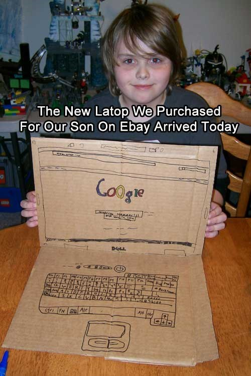 Text - The New Latop We Purchased For Our Son On Ebay Arrived Today Cooge alnlrsirrle SFOrSNet AH cn Gtri FN Air