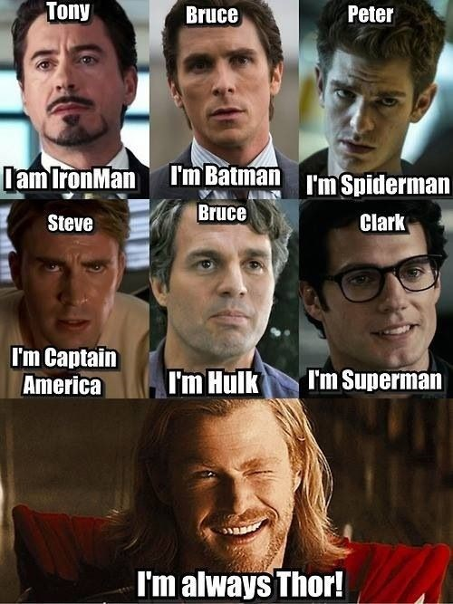 Thor,ironman,batman,Spider-Man