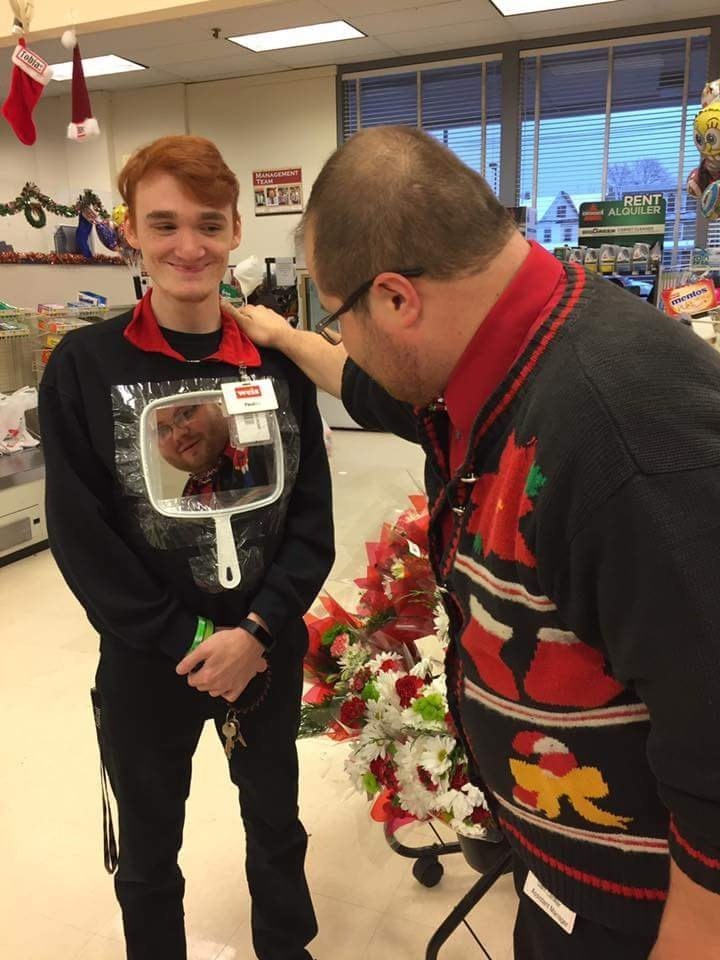 funny christmas image guy makes amazingly clever ugly sweater for office competition