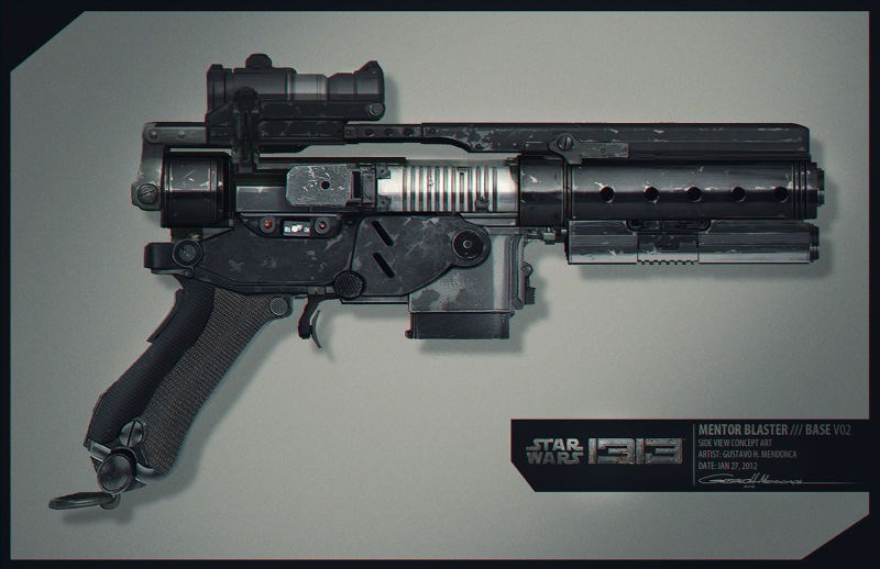 Gun - MENTOR BLASTER/// BASE VO2 STAR WARS SIDE VIEW CONCEPT ART ARTIST GUSTAVO H MENDONCA DATE JAN 27, 2012
