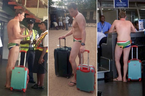 african man wears speedo on a plane security stops him