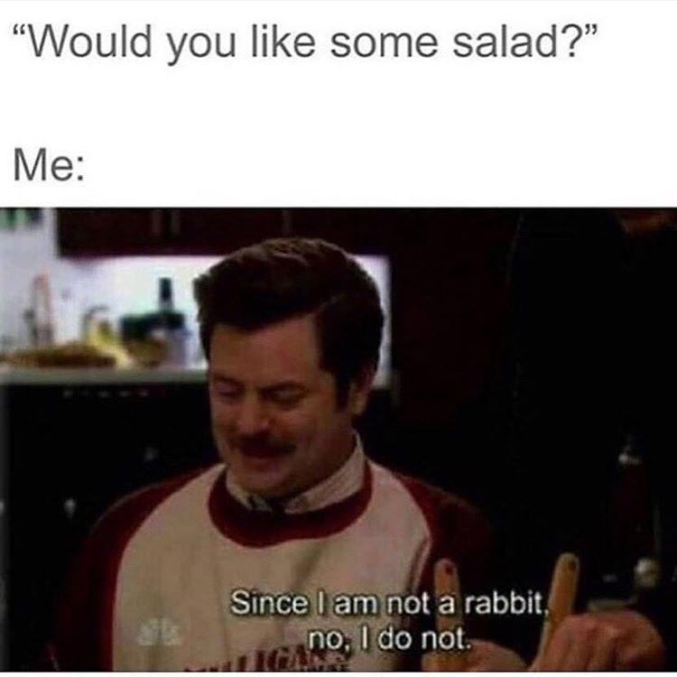 ron swanson,salad,image