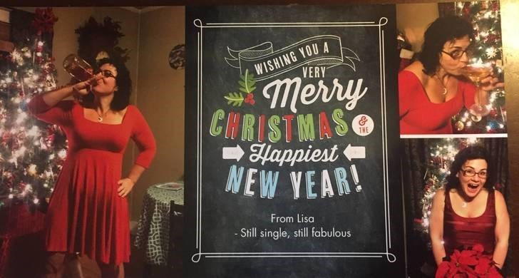 Font - WISHING YOU A VERY merry CHRISTMAS Hhappiest NEW YEAR! THE From Lisa - Still single, still fabulous