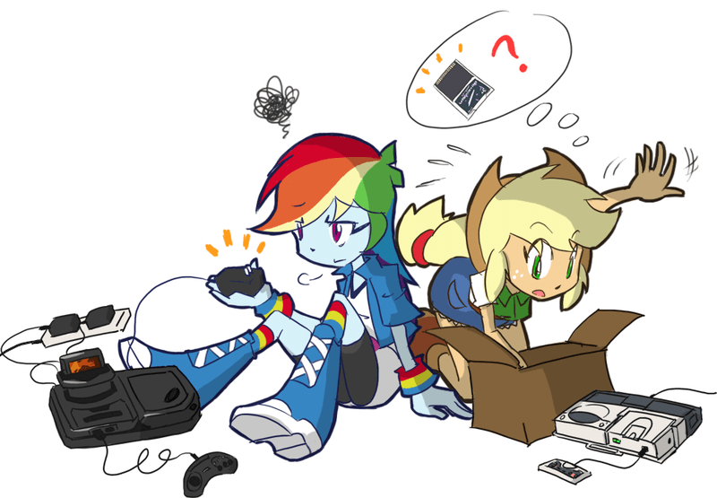 applejack,equestria girls,sega,sega cd,turbografx 16,rainbow dash