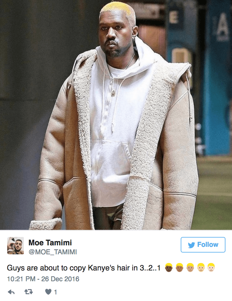 Clothing - A Moe Tamimi Follow @MOE_TAMIMI Guys are about to copy Kanye's hair in 3.2..1 10:21 PM 26 Dec 2016 h 1
