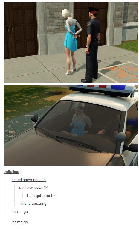 Vehicle door - zeltallica likeadisneyprincess doctorwhovian 12 Elsa got arrested This is amazing. let me go let me go