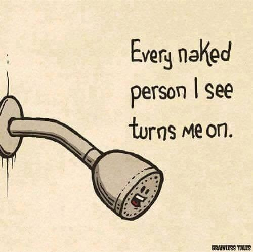 Drawing of a shower head making a pun about being turned on