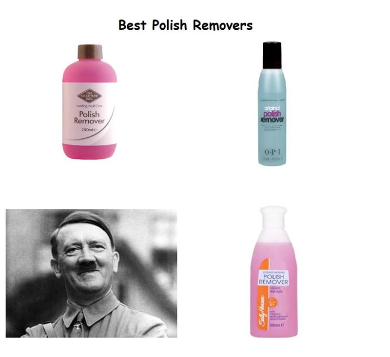 Offensive meme about nail polish removers with a pic of Hitler included