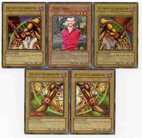Offensive meme with the Yu Gi Oh Forbidden One cards set, with the torso replaced by Nick Vujicic