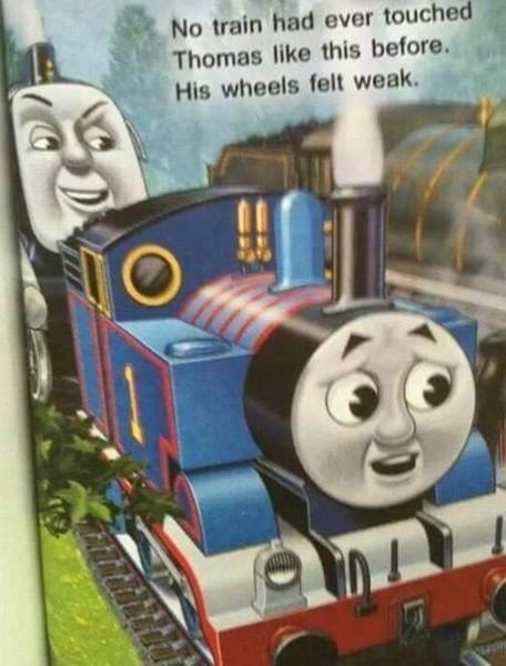 Offensive meme about Thomas the Tank Engine getting touched sexually