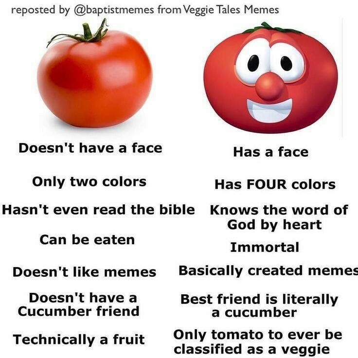 Text - reposted by @baptistmemes from Veggie Tales Memes Doesn't have a face Has a face Only two colors Has FOUR colors Hasn't even read the bible Knows the word of God by heart Can be eaten Immortal Basically created memes Doesn't like memes Doesn't have a Cucumber friend Best friend is literally a cucumber Only tomato to ever be classified as a veggie Technically a fruit