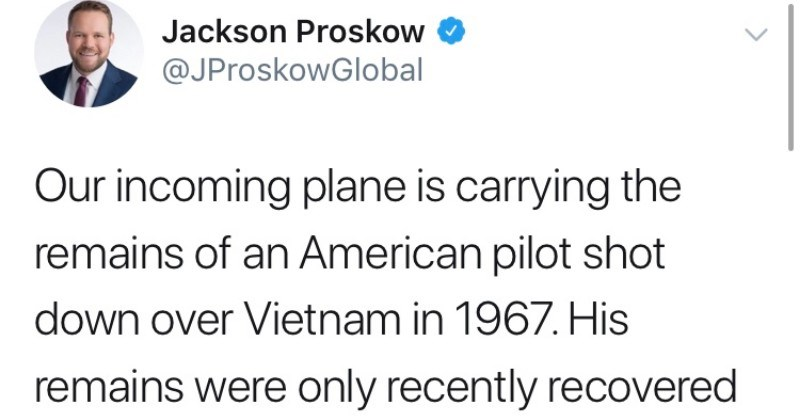 Guy tweets heartwarming story about a Vietnam soldier's remains being returned by his son.