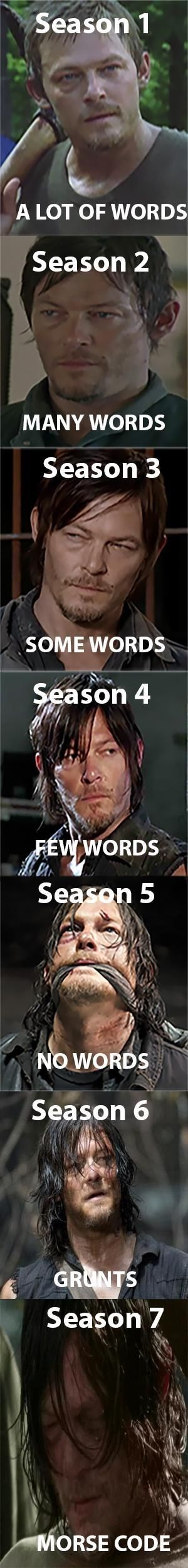 Meme from The Walking Dead showing the arc of Daryl Dixon's character over the seasons.