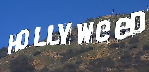 someone changed hollywood sign to read hollyweed