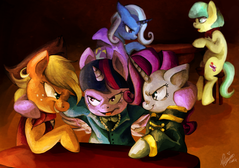 applejack,the great and powerful trixie,cosplay,twilight sparkle,the count of monte cristo,rarity,coco pommel,ponify