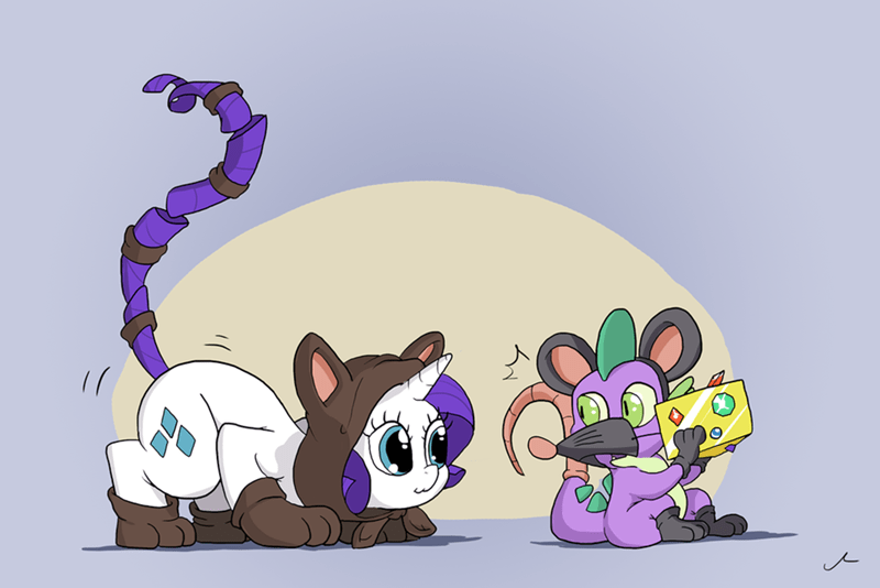 spike,cosplay,rarity,acting like animals