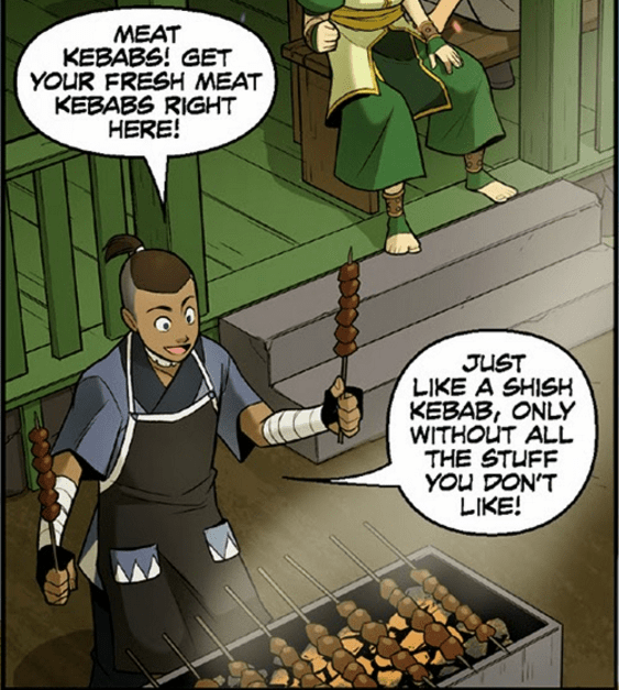 Cartoon - MEAT KEBABS! GET YOUR FRESH MEAT KEBABS RIGHT HERE! JUST LIKE A SHISH KEBAB, ONLY WITHOUT ALL THE STUFF YOU DON'T LIKE!