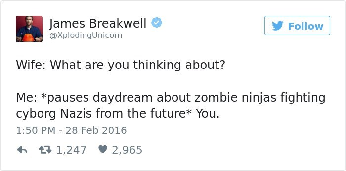 Text - James Breakwell Follow @XplodingUnicorn Wife: What are you thinking about? Me: *pauses daydream about zombie ninjas fighting cyborg Nazis from the future* You 1:50 PM 28 Feb 2016 1,247 2,965