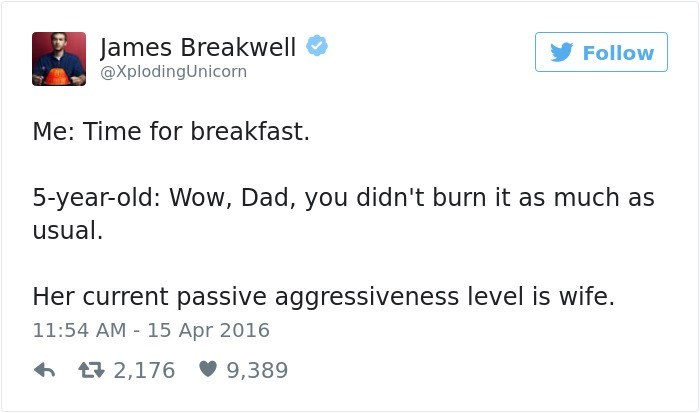 Text - James Breakwell Follow @XplodingUnicorn Me: Time for breakfast. 5-year-old: Wow, Dad, you didn't burn it as much as usual Her current passive aggressiveness level is wife. 11:54 AM 15 Apr 2016 t2,176 9,389
