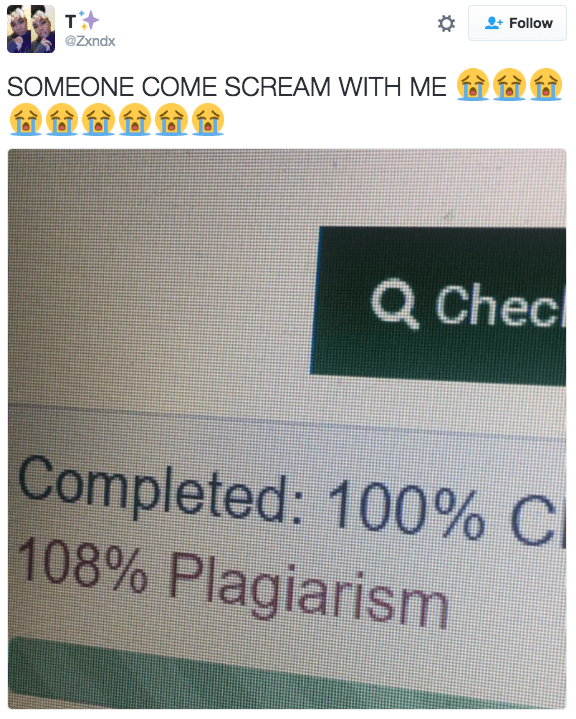 Text - Follow Tt @Zxndx SOMEONE COME SCREAM WITH ME Q Chec Completed: 100% C 108% Plagiarism