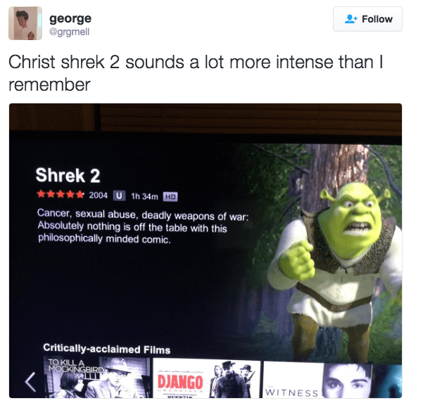 Web page - george @grgmell Follow Christ shrek 2 sounds a lot more intense than I remember Shrek 2 2004 U 1h 34m HD Cancer, sexual abuse, deadly weapons of war: Absolutely nothing is off the table with this philosophically minded comic. Critically-acclaimed Films TO KILL A MOCKINGBIRD DJANGO WITNESS