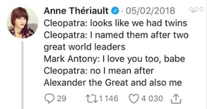 Funny Twitter thread about the life of Cleopatra