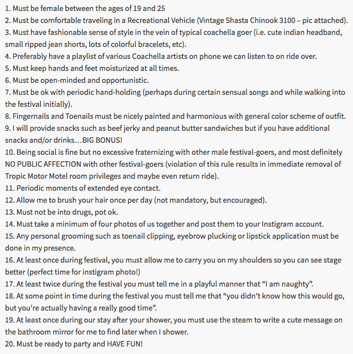 Creepy list of demands dude posts for girls to get his free tickets to Coachella.