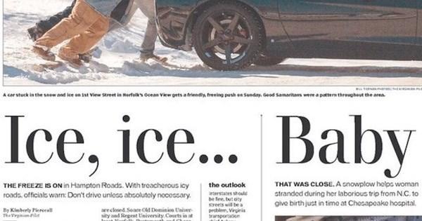 newspaper makes vanilla ice joke through layout