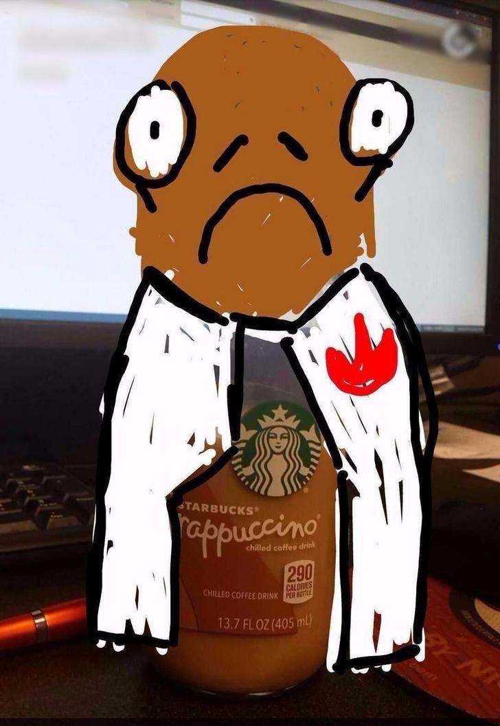 snapchat pun - Cartoon - TARBUCKS appucino chilled coffee drink 290 CALORIES CHILLED COFFEE DRINK PER HOTTLE 13.7 FL0Z (405 m)