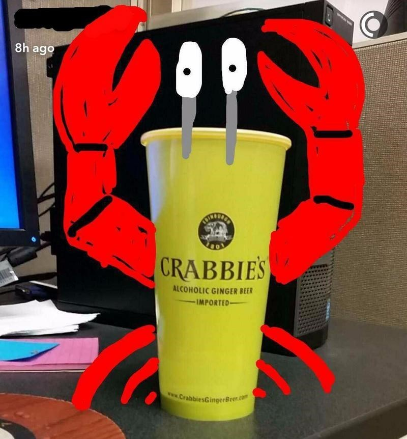 snapchat pun - Yellow - 8h ago CRABBIES ALCOHOLIC GINGER BEER IMPORTED www.CrabbiesGingerBeer.com
