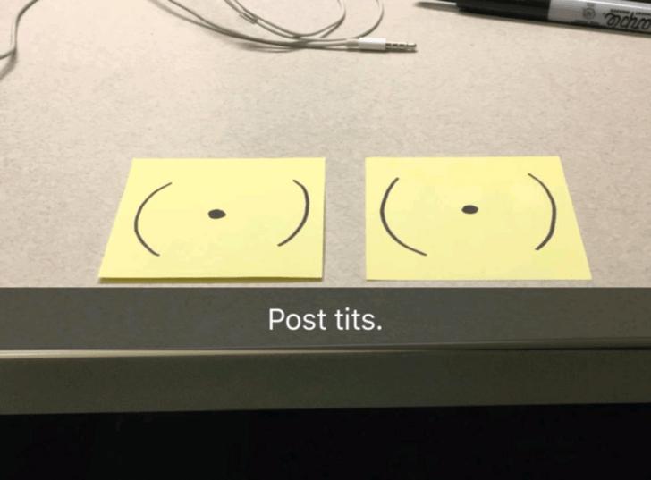 snapchat pun - Facial expression - Post tits.