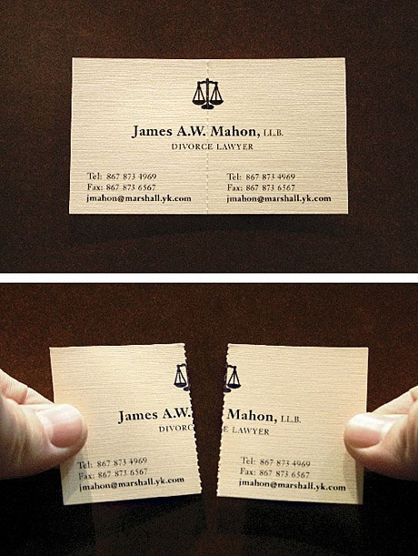hilarious divorce lawyer business card