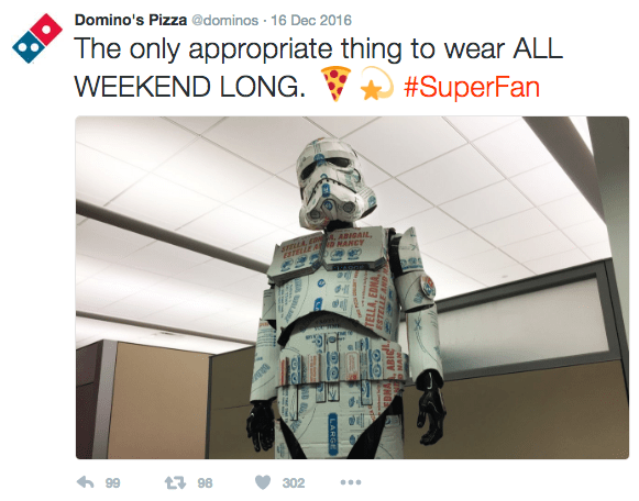 Product - Domino's Pizza @dominos 16 Dec 2016 The only appropriate thing to wear ALL WEEKEND LONG #SuperFan ABIBAIL mLA R MANCY t98 99 302 HO