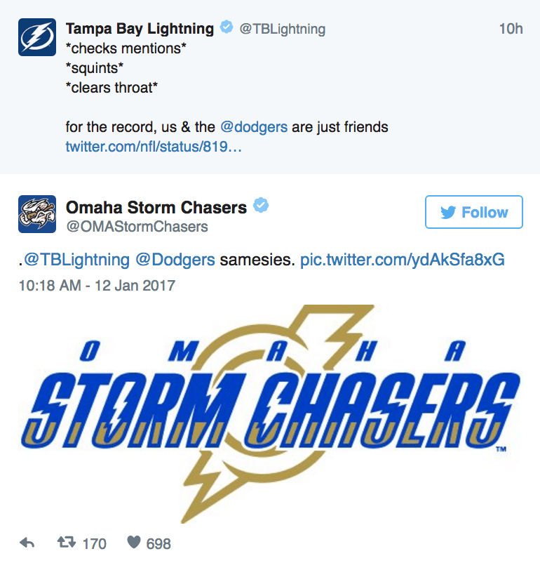 "Text - Tampa Bay Lightning @TBLightning 10h ""checks mentions* ""squints *clears throat* for the record, us & the @dodgers are just friends twitter.com/nfl/status/819... Omaha Storm Chasers Follow @OMAStormChasers .@TBLightning @Dodgers samesies. pic.twitter.com/ydAkSfa8xG 10:18 AM -12 Jan 2017 A A STORM CHASERS TM t170 698"