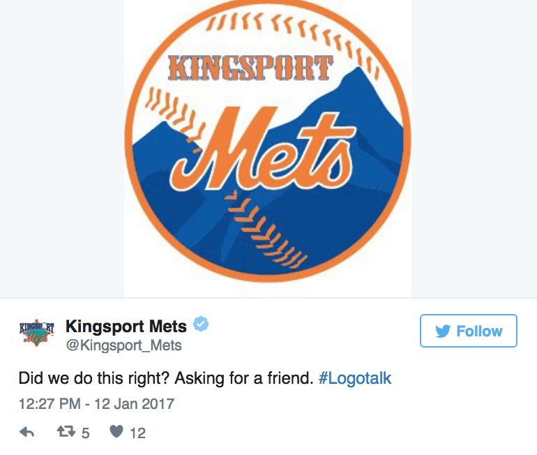 Logo - KINGSPORT Mets EIGKingsport Mets @Kingsport_Mets Follow Mels Did we do this right? Asking for a friend. #Logotalk 12:27 PM 12 Jan 2017 t 5 12