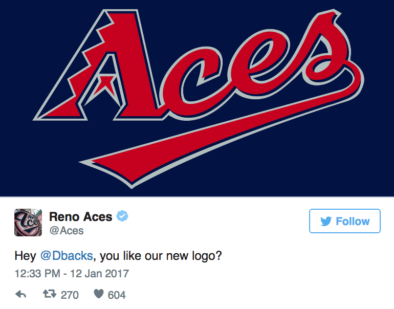 Text - Aces TeReno Aces @Aces Follow Hey @Dbacks, you like our new logo? 12:33 PM - 12 Jan 2017 t270 604