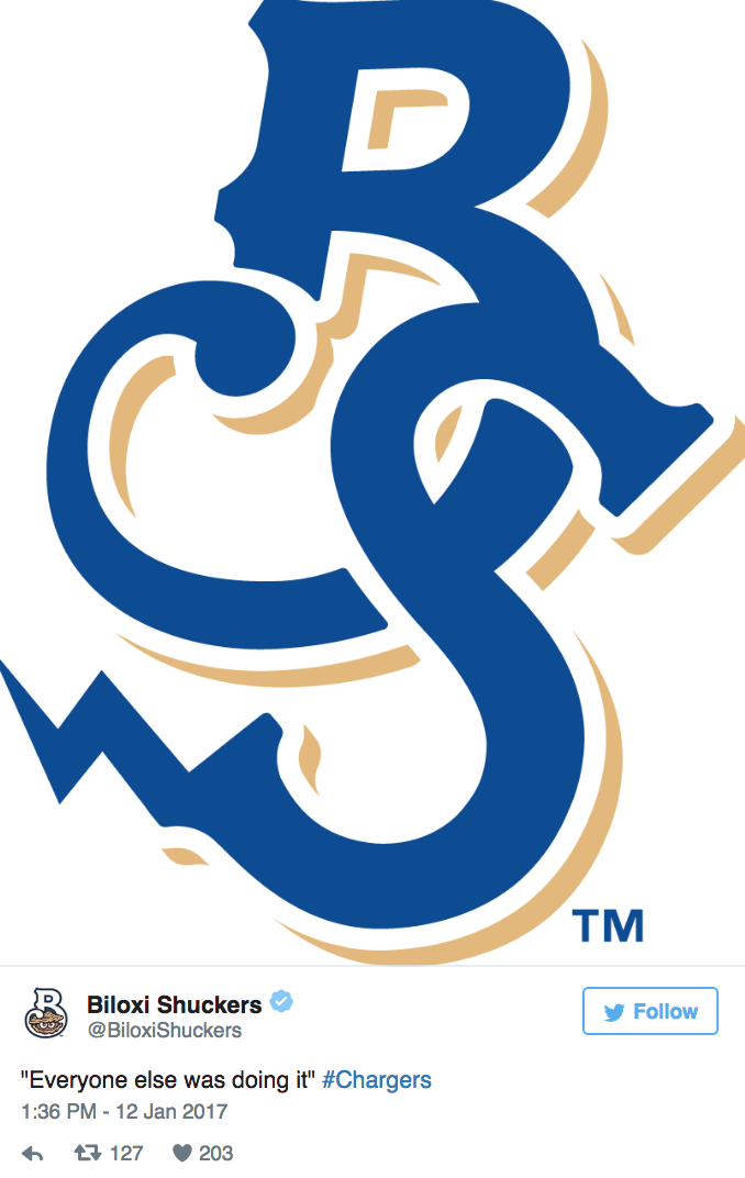 "Font - TM Biloxi Shuckers Follow @BiloxiShuckers ""Everyone else was 1:36 PM-12 Jan 2017 doing it"" #Chargers t 127 203"