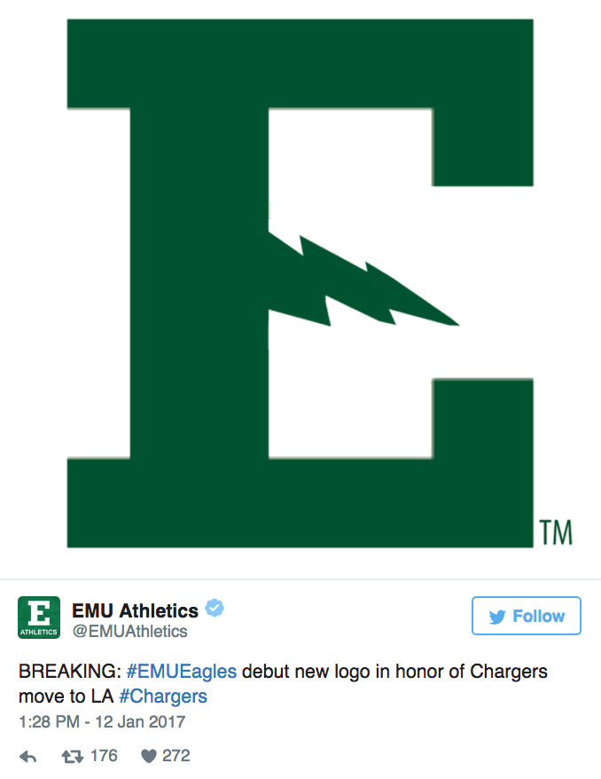 Green - TM EEMU Athletics ATHLETICS@EMUAthletics Follow BREAKING: #EMUEagles debut new logo in honor of Chargers move to LA #Chargers 1:28 PM -12 Jan 2017 272 t176