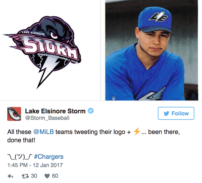 Cap - 45 LAKE ELSINORE RROSESSIONAL BASEBALL TEAM Lake Elsinore Storm @Storm_Baseball Follow All these @MILB teams tweeting their logo ... been there, done that! 1()S #Chargers 1:45 PM-12 Jan 2017 60 t30