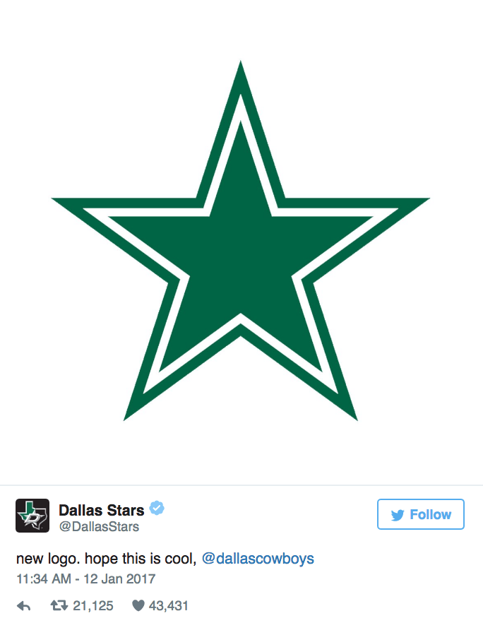 Logo - Dallas Stars @DallasStars Follow new logo. hope this is cool, @dallascowboys 11:34 AM - 12 Jan 2017 t21,125 43,431